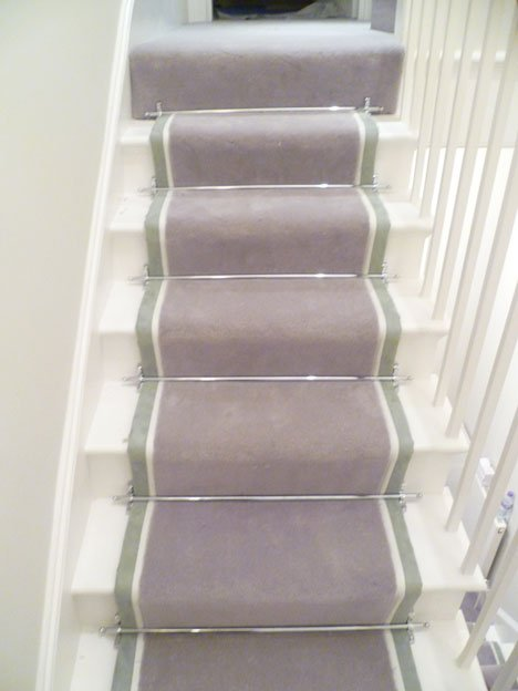Double Tape Stair Runner With Chrome Rods Belgravia