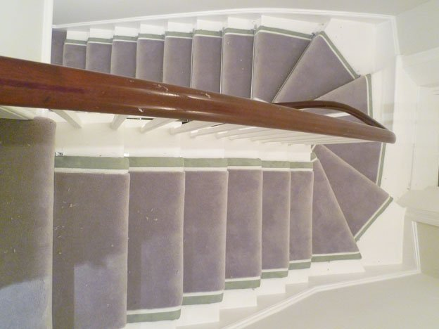 Stair Runner rug with Chrome Rods