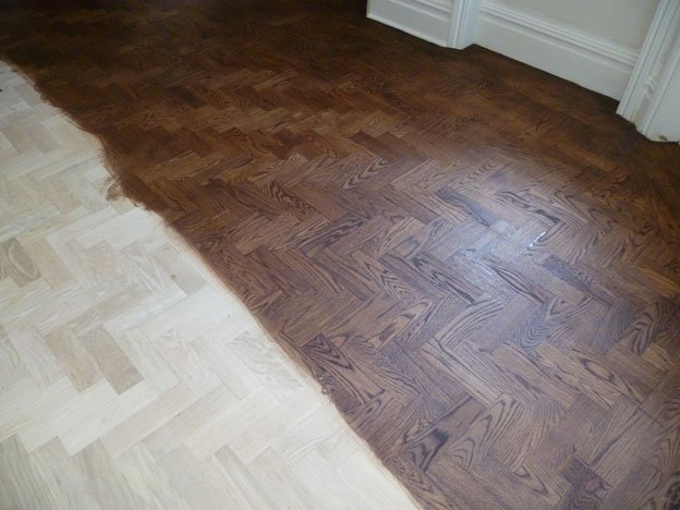 Sand, stained and refinished Oak floor