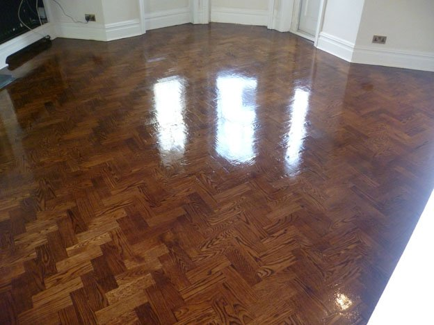 Stained solid oak wood