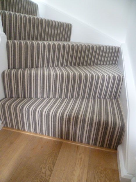 Beautiful Plain Flooring With Striped Stairs